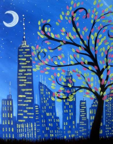 A Shimmering City paint nite project by Yaymaker