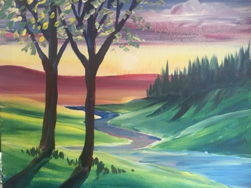 A Spring River View paint nite project by Yaymaker