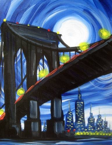 A Blue Moon over Brooklyn Bridge paint nite project by Yaymaker
