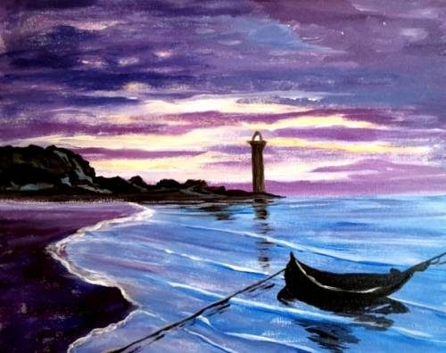A Monets Honfleur paint nite project by Yaymaker
