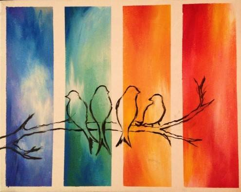A A Love for All Seasons paint nite project by Yaymaker