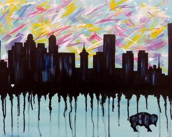 A Graffiti Buffalo Skyline paint nite project by Yaymaker
