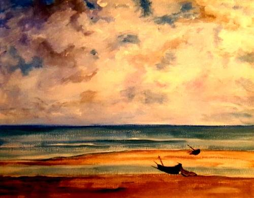 A Monets Calm Sea paint nite project by Yaymaker