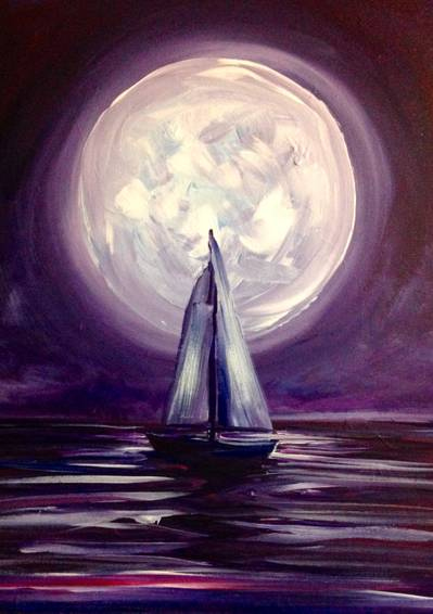 A Moonlight Sail paint nite project by Yaymaker