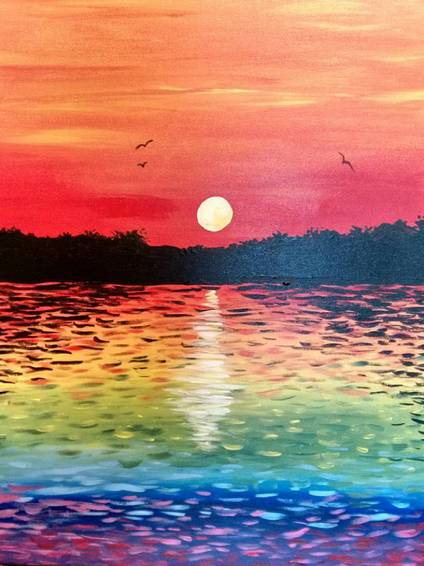 A Sunset On Rainbow Lake paint nite project by Yaymaker