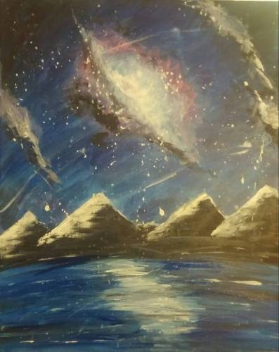 A Galaxy Over Mountain Water paint nite project by Yaymaker