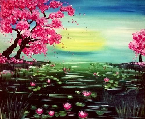 A Cherry Blossom Pond paint nite project by Yaymaker