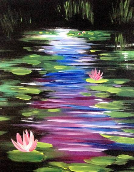 A Enchanted Water Lilies paint nite project by Yaymaker