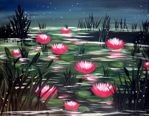 A Nightfall at the Lily Pond paint nite project by Yaymaker