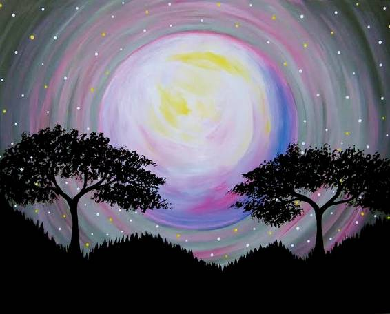 A Moon Between The Trees paint nite project by Yaymaker