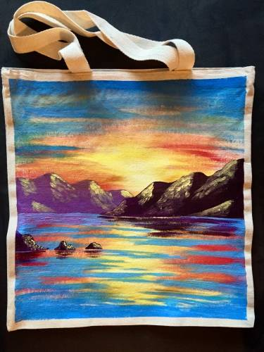 A Island Sunset Tote Bag paint nite project by Yaymaker