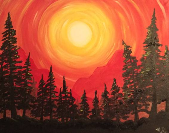 A Evergreen Mountain Sunset paint nite project by Yaymaker