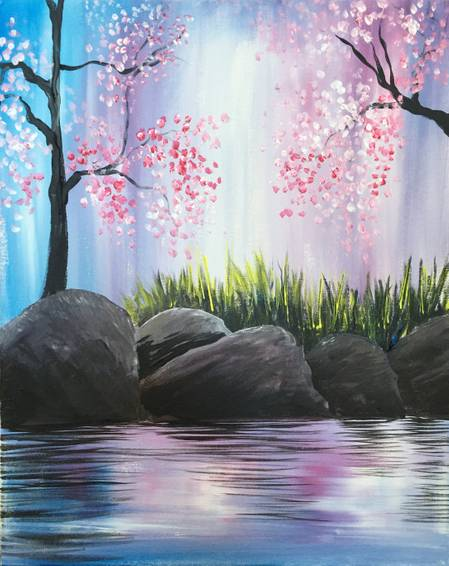 A Cherry Blossoms on the Rocks paint nite project by Yaymaker