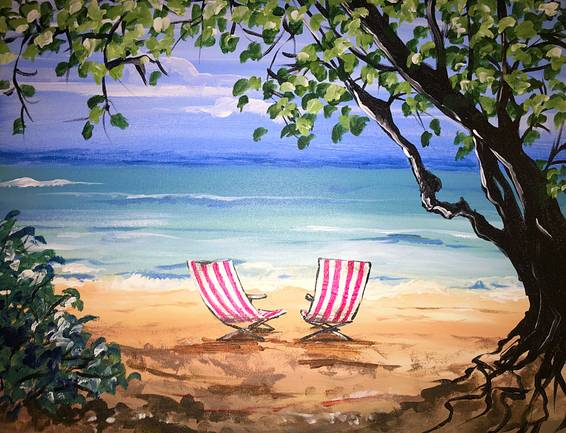 A Hawaiian Beach Bliss paint nite project by Yaymaker