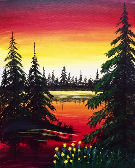 A Peaceful Reflection paint nite project by Yaymaker