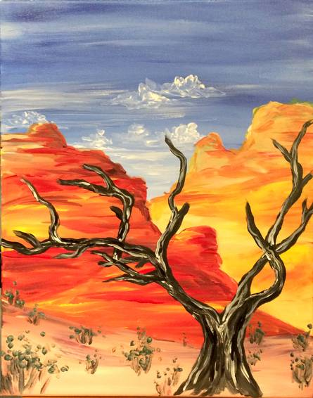 A Desert Tree paint nite project by Yaymaker
