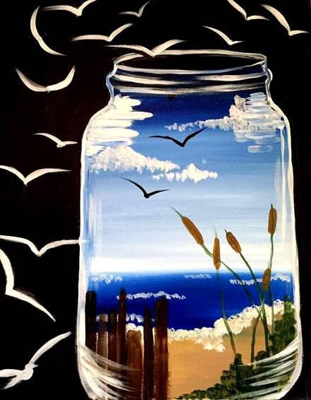 A Beach Dream Catcher paint nite project by Yaymaker