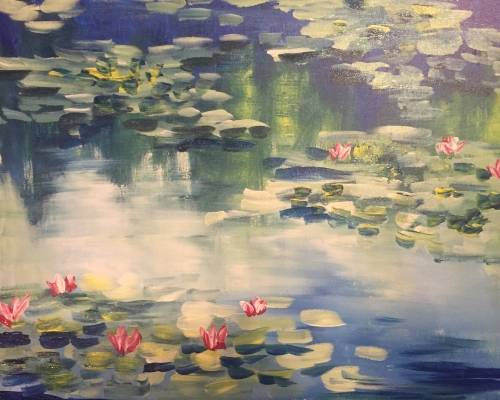 A Impressionist Monet Water Lilies paint nite project by Yaymaker
