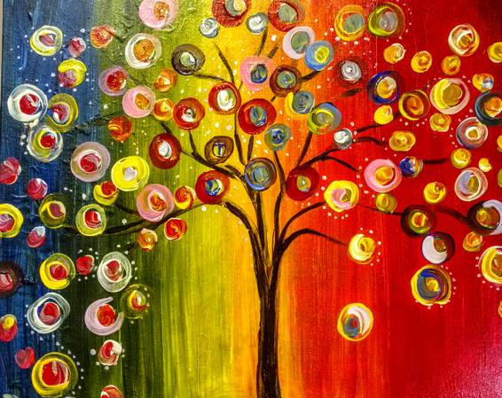 A Rainbow Tree Lights paint nite project by Yaymaker