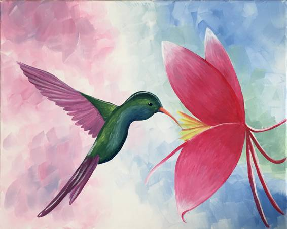A Hummingbird in Paradise paint nite project by Yaymaker