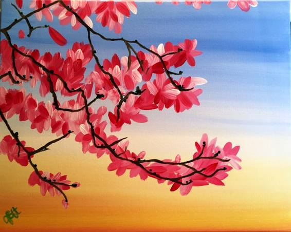 A Warm Magnolias paint nite project by Yaymaker