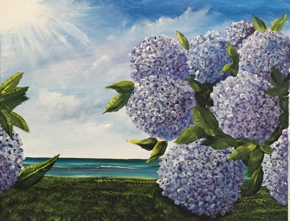 A Cape Cod Hydrangeas paint nite project by Yaymaker