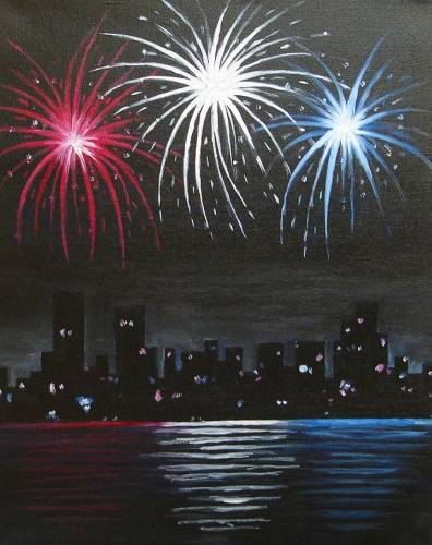 A Fireworks over the City paint nite project by Yaymaker