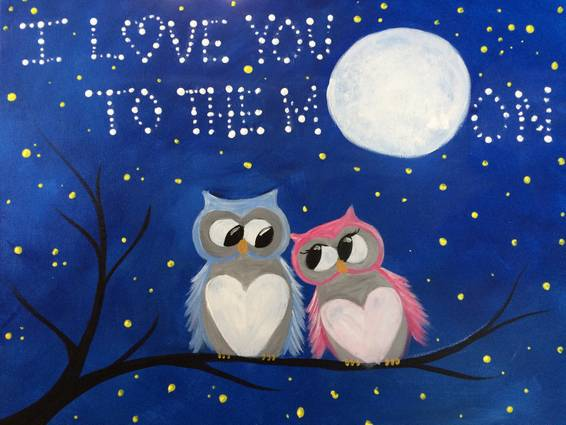 A I Love You To The Moon paint nite project by Yaymaker