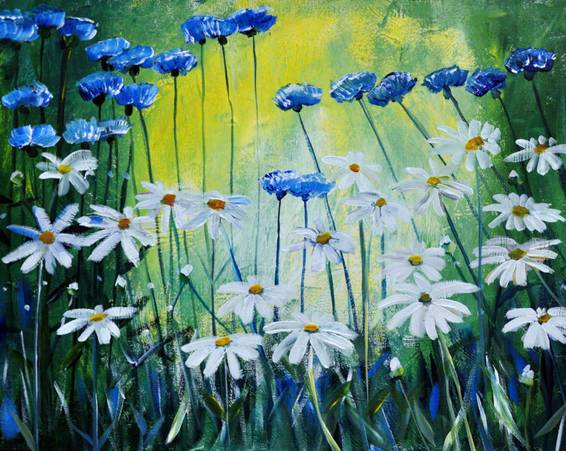 A Cornflowers n Daisies paint nite project by Yaymaker