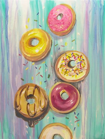 A Donut Worry Be Happy paint nite project by Yaymaker