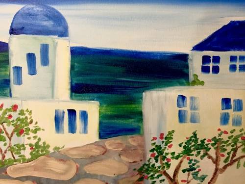 A Greek Getaway paint nite project by Yaymaker