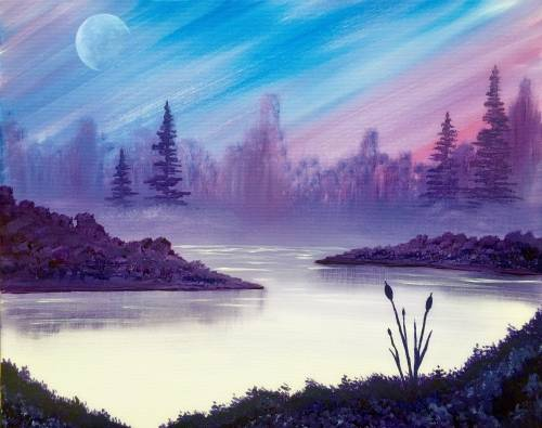 A Moonrise Morning paint nite project by Yaymaker
