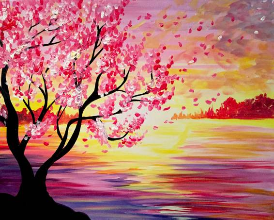 A Sunset Cherry Blossoms paint nite project by Yaymaker