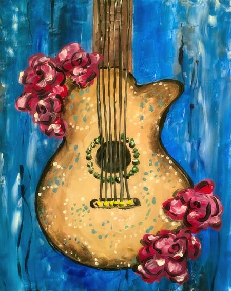 A Floral Guitar paint nite project by Yaymaker