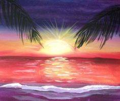 A Sunset Paradise paint nite project by Yaymaker
