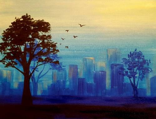 A Big City Blues paint nite project by Yaymaker