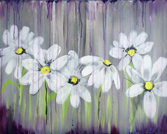 A Spring Showers Bring Daisy Flowers paint nite project by Yaymaker