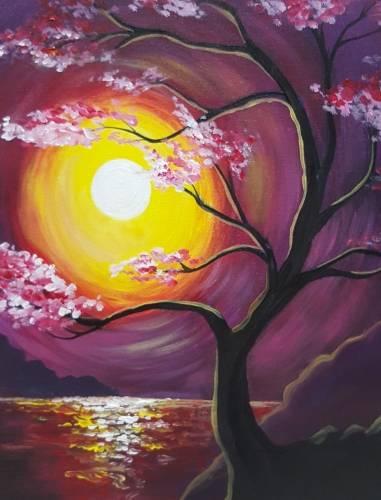 A Sakura Sunset paint nite project by Yaymaker