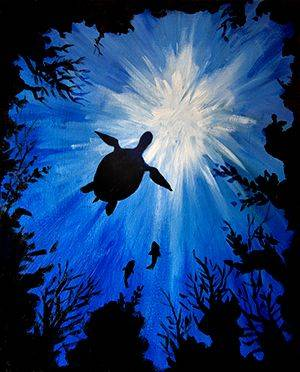 A Sea Turtle paint nite project by Yaymaker