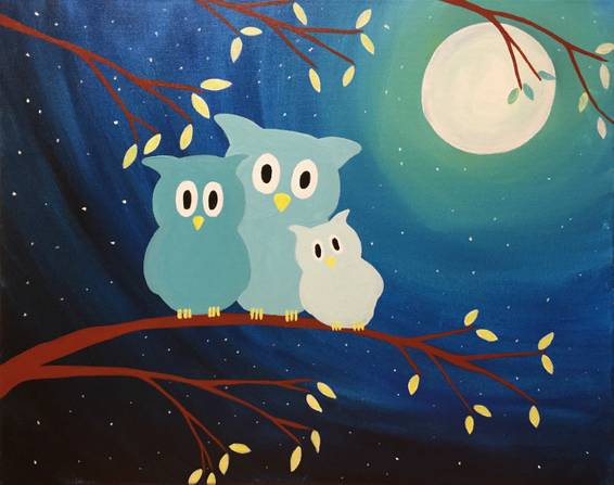 A Owl in the Family paint nite project by Yaymaker