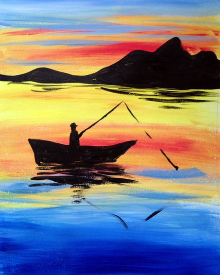 A Sunset Fishing paint nite project by Yaymaker