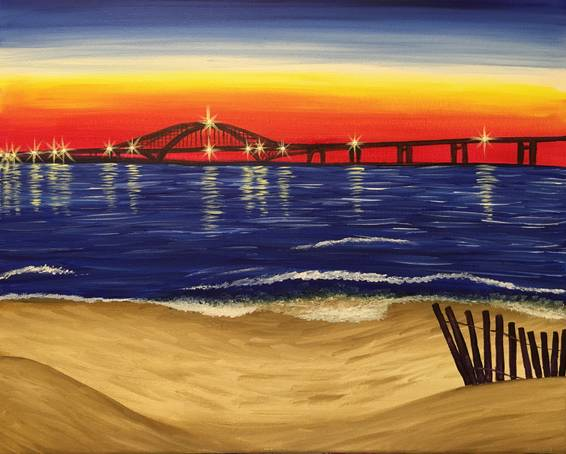 A Twilight on the Beach paint nite project by Yaymaker