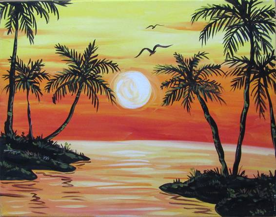A Sultry Sunset paint nite project by Yaymaker