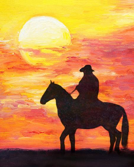 A Sunset Cowboy paint nite project by Yaymaker