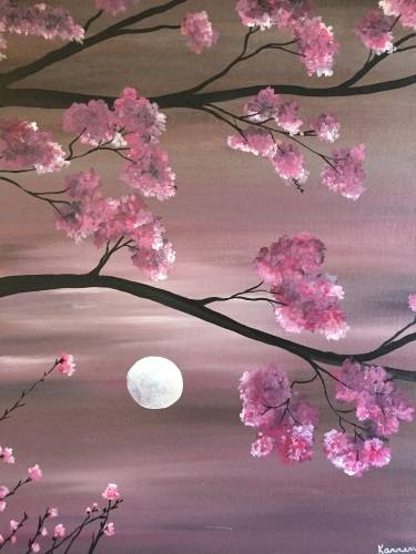 A Cherry Blossom Moonlight II paint nite project by Yaymaker