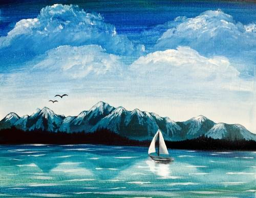 A Olympic Mountains Sail paint nite project by Yaymaker