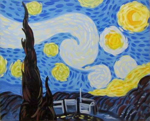 A Starry Night Starry Mind paint nite project by Yaymaker