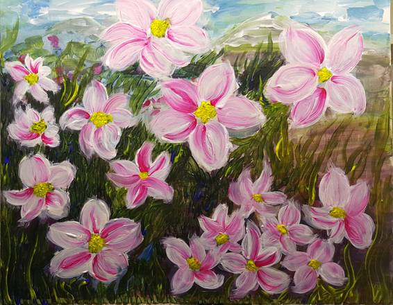 A Flowers at Villa of Monet paint nite project by Yaymaker