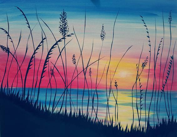 A Sunrise Seaside paint nite project by Yaymaker