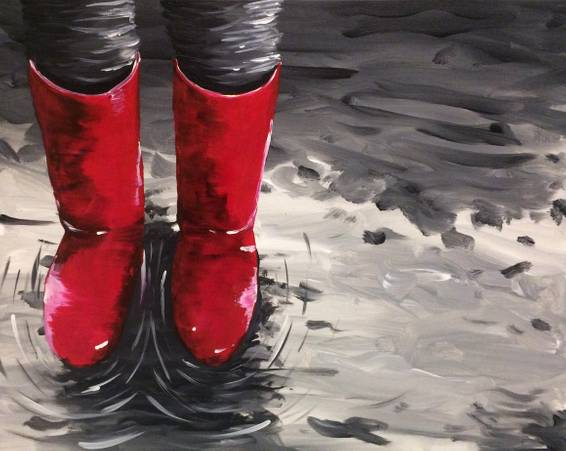 A Wading in Red Wellies paint nite project by Yaymaker